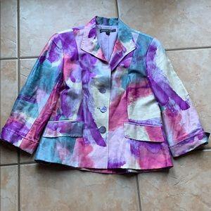 Lafayette 148 Linen & Silk Watercolor Blazer 6